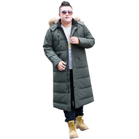 Men's Winter Fashion Coat Hooded Large Fur Collar Warm Jacket Men's Extra Long Size M 14XL Over the Knee Jacket 190kg Men's Wear
