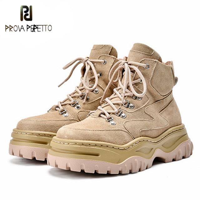 Prova perfetto mulheres camurça tornozelo botas senhoras rendas até plataforma botas de equitação inverno botas de pele quente sapatos planos mulher botas mujer