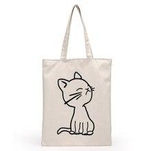 Fashion Soft Canvas Women Shoulder Bag White Printed Handbag Casual Mommy Eco Environmental Friendly Capacity Shopping Tote