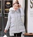 2016 nuevas mujeres Chaquetas de Invierno Abrigo de Otoño E Invierno Coreano Largo hembra Delgada Chaqueta Acolchada de Moda Lday Tops plus tamaño XF074