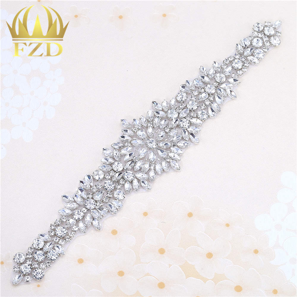 A Grade Wedding Rhinestones Bridal Applique Sew on Motif Craft Diamante Appliqu