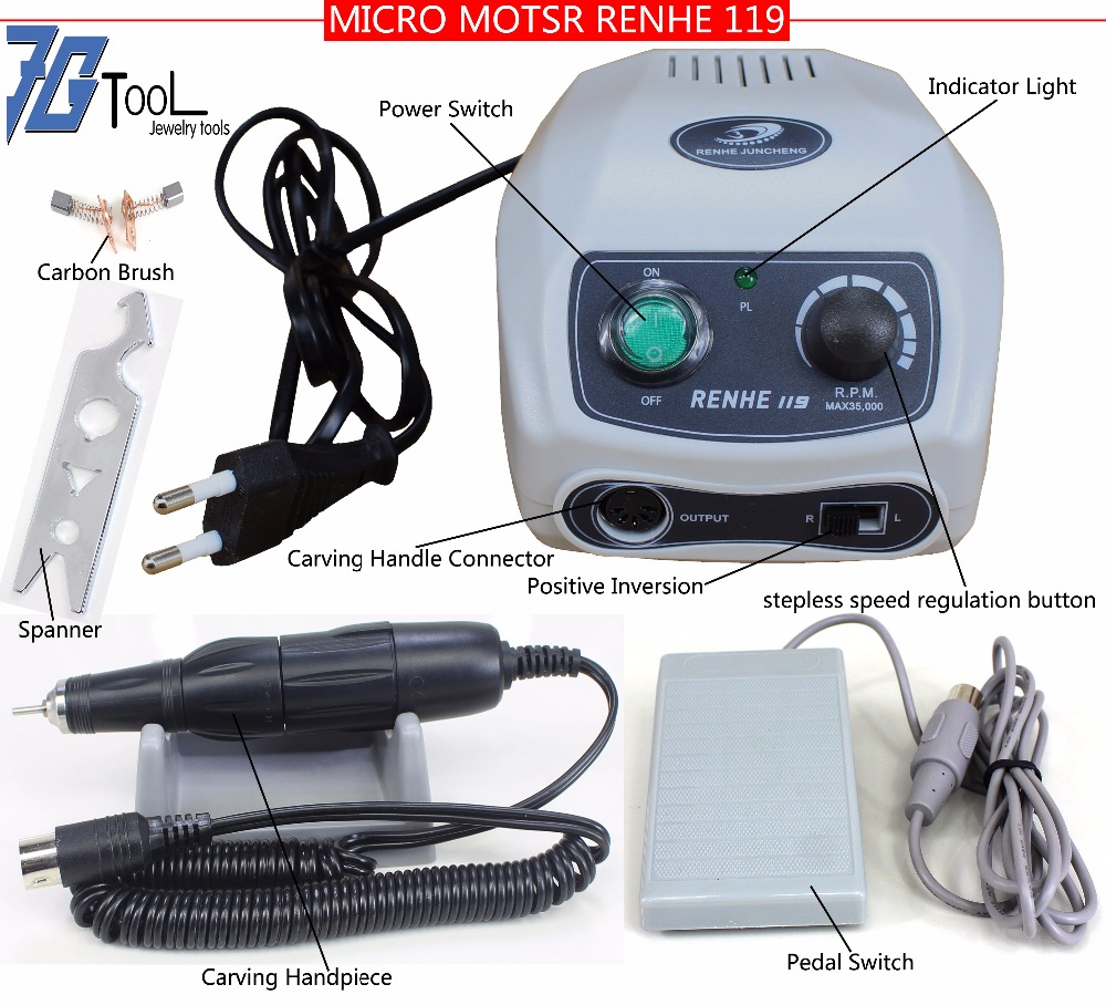 RENHE 119 35K RPM Electric Micromotor Dental Lab Micro motor Handpiece Rotary Drill for Jewelry Carving