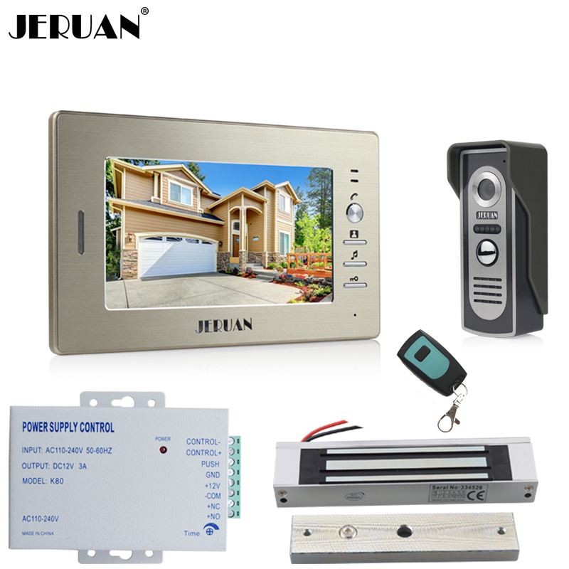 JERUAN 7 inch LCD Video Doorbell Doorphone Door phone Intercom System kit Color COMS IR Camera With 180KG Magnetic lock In Stock