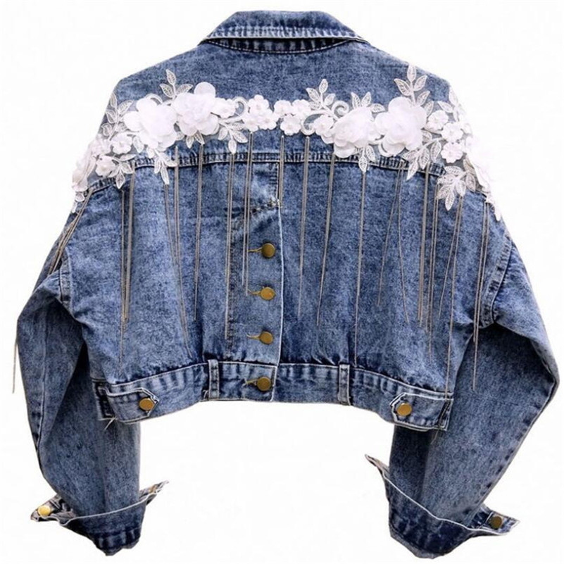 Fashion Three-dimensional flower embroidery tassel bat sleeve loose denim jacket women short basic jacket r780