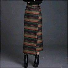 2019 Otoño e Invierno moda casual más tamaño grueso cálido mujeres niñas asimétricas rayas faldas ropa