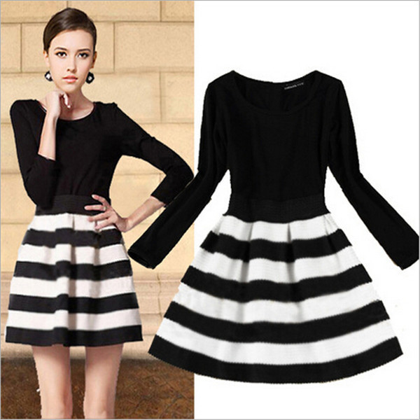 54a129b677 Vestidos Bestselling Autumn and Winter Black and White Striped 3 4 Length  Sleeve New Fashion Vintage Short Ball Gown Dress