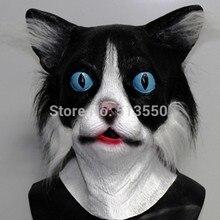 цена Adult Latex Kitten Kitty W/ Fur Animal Pet Costume Rubber Black Cat Woman Mask онлайн в 2017 году