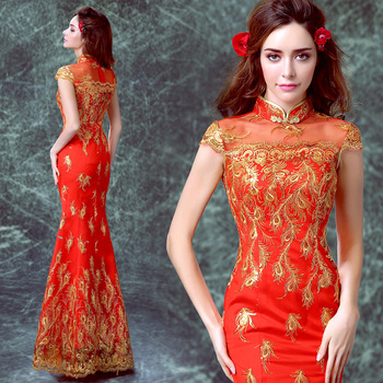 chinese traditional dress red long mermaid lace for women qipao cheongsam plus size 2017 wedding phoenix style bride satin gold