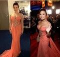 Vestidos no tapete vermelho 2017 da sereia do querido orange slit chiffon frisada lace barato famosa imitação celebrity dresses
