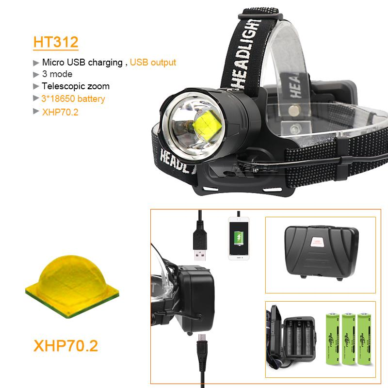 8000 Lumen XHP70.2 mächtigsten led scheinwerfer scheinwerfer kopf taschenlampe led usb kopf lampe taschenlampe XHP70 XHP50 18650 kopf licht