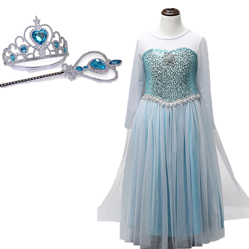 Retail Girl Sequins Elsa Dress Costomes Party Cosplay Dress Anna Girl Dress Princess Elsa Floor Length Costume for Children 3-8Y luxury appliques shoulderless lace flower bride plus size pregnant women train ivory wedding dresses maternity clothing