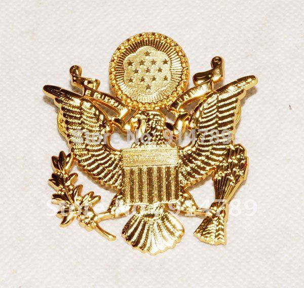 WWII US ARMY OFFICER CAP EAGLE BADGE INSIGNIA-31642
