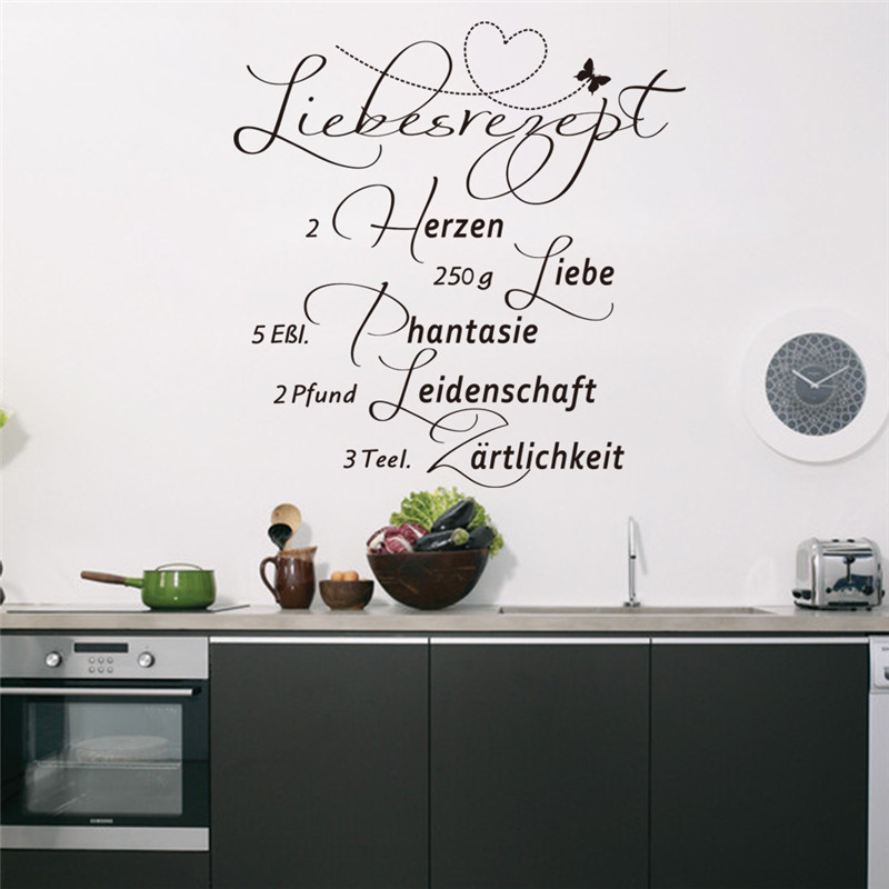Creative Home Decor Black Plane Wall Stickers German Quotes Herzen Pattern For Living Room