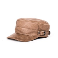 Harppihop*genuine leather men baseball cap hat high quality men's real sheep skin leather adult solid army hats caps