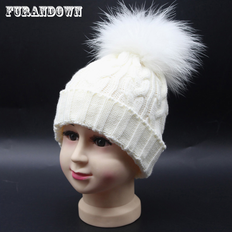 Kids Winter Hats Dyed Real Raccoon Fur Pom poms Hat For Children Wool Knitting Baby Beanies Girl Boy Cap laurashow winter kids hats beanies caps knit hat baby girls boys raccoon mink fur pom poms wool