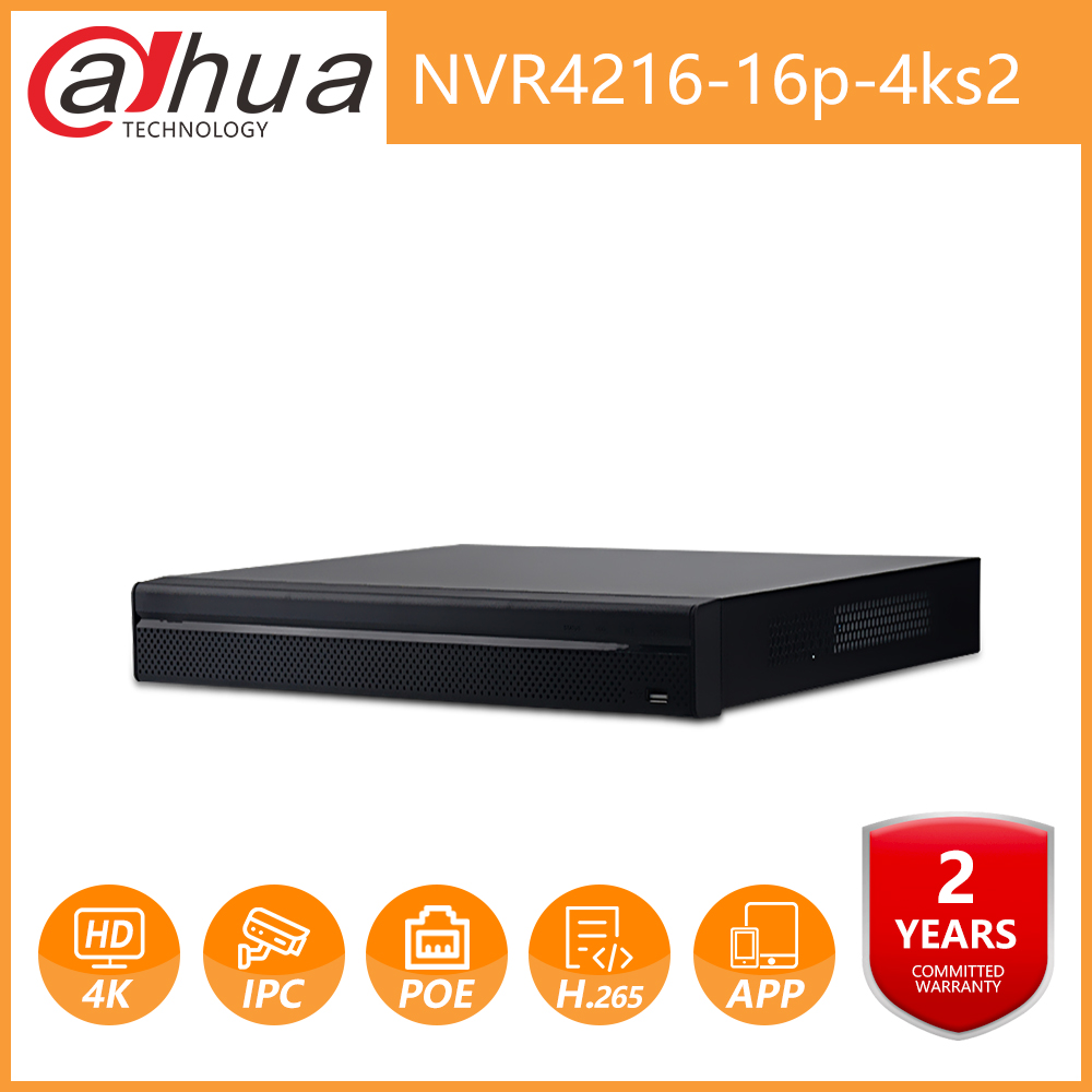 Dahua OEM DH NVR4216-16P-4kS2 16 Channel 1U 16PoE port 4K&H.265 Lite Network Video Recorder For IP Camera Security CCTV System