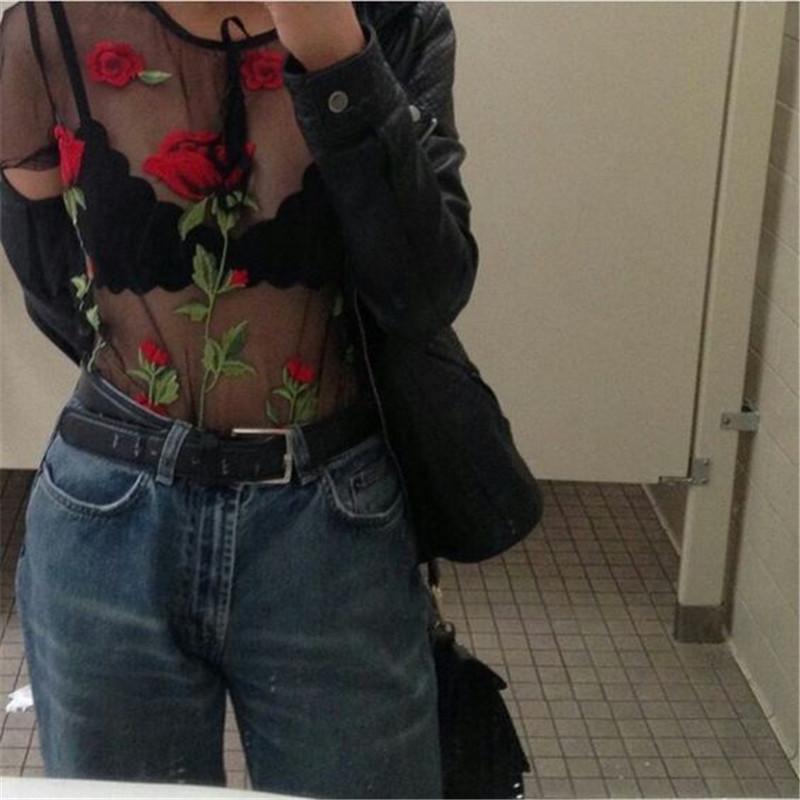 HTB1A7Z4QpXXXXX4XFXXq6xXFXXXd - Embroidery Romantic Flower Floral Red Rose T-Shirt PTC 71