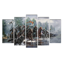 5 Piece Canvas Art Poster Painting Art Knight Horses Water Framed Wall Art Canvas Wall Pictures For Living Room Modular Pictures