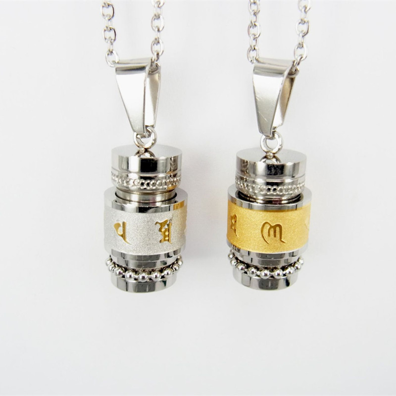 Stainless Steel Buddhism Six Words Rotatable Necklace Women Men OM Mantra Prayer Wheel Mantra Bottle Urn Pendant Necklace
