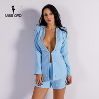 Missord 2017 Sexy Long Sleeve Button Two Pcs Sets Solid Color Elegant Playsuit FT8550 1