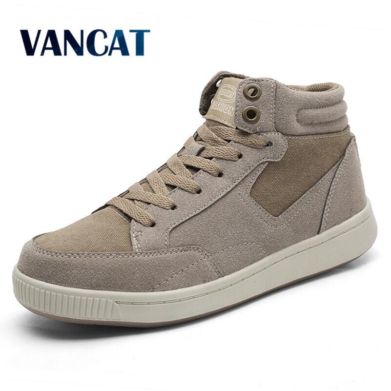 Vancat Plus Size 38-49 Warm Winter Waterproof Men Boots Cow Suede Canvas Men's Fur Snow Boots Sneakers Boots Men's Ankle Boots