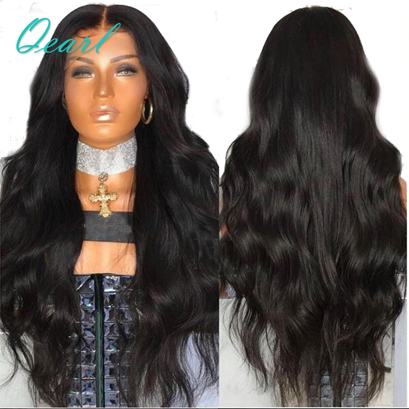 Qearl Hair 250% Thick Density Body Wave 360 Lace Frontal Wigs With Baby Hair Middle Part ...