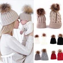 2Pcs Cute Mother Kid Baby Child Warm Winter Knit Beanie Fur Pom Hats Crochet Ski Cap