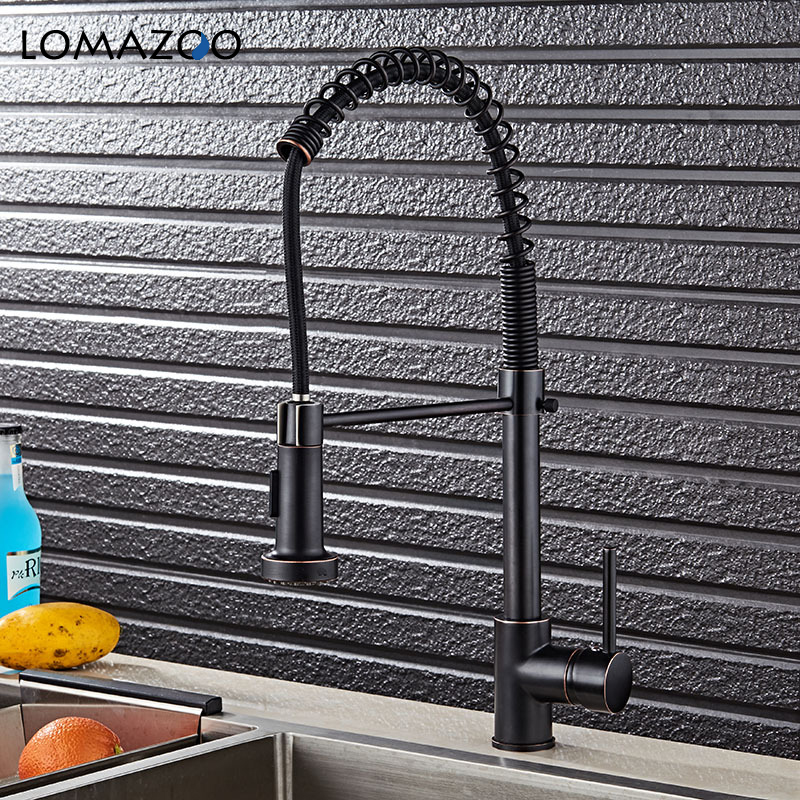 LOMAZOO Kitchen Faucet Bathroom Sink Faucet 360 degrees Telescopic Rotatable Waterfall Faucet Single Handle Brass Rotate mixer ydl f 0581 wall type 360 degrees rotatable chrome plated brass kitchen sink faucet silver