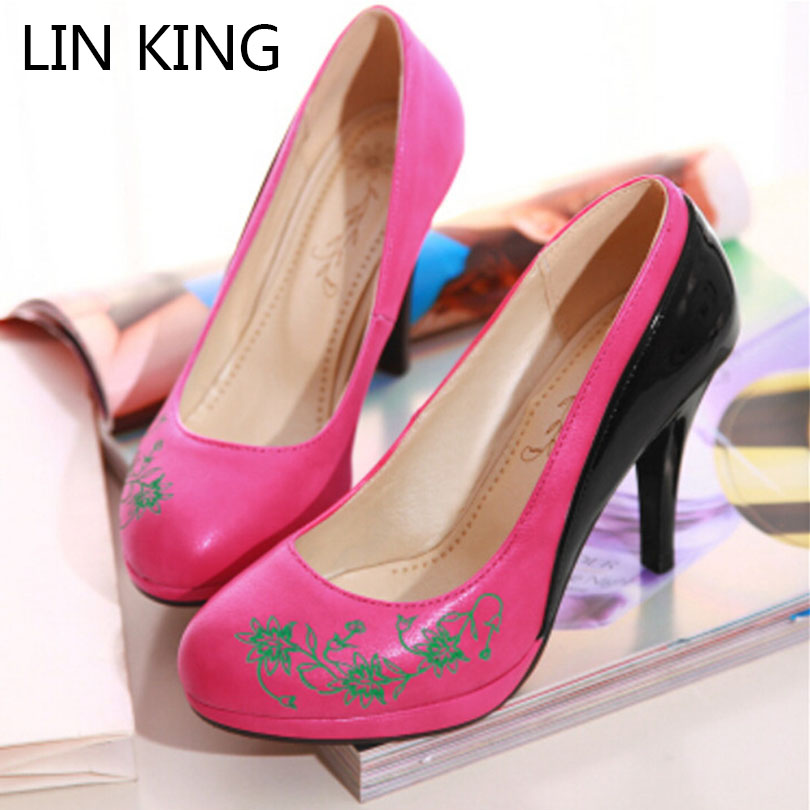 LIN KING Fashion Spring Autumn Women Shoes High Heels Pumps Platforms Patchwork Pointed toe Flower Plus size 34-43 Hot sale Sexy big size sale 34 43 new fashion sexy pointed toe women pumps spring summer autumn high heels ladies wedding party shoes 6629