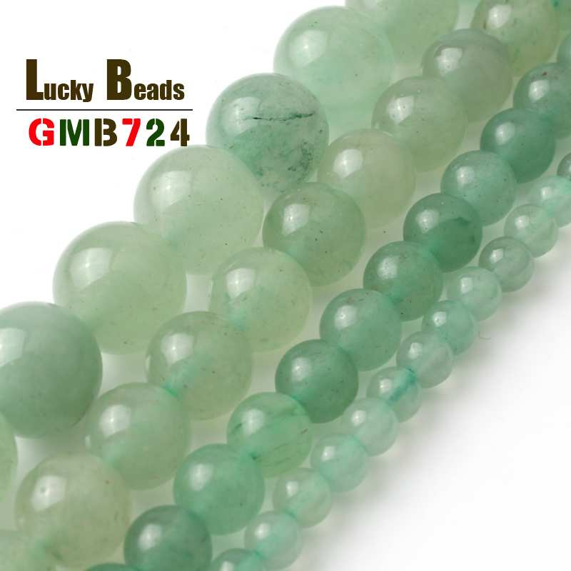 <font><b>4</b></font> 6 8 10 12 14mm Natural Green Aventurine Round Loose Beads For <font><b>DIY</b></font> Making Bracelet Necklace Jewelry Charm Accessories 15inches image