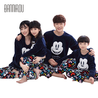 Winter Family Matching Pajama Set Flannel Cartoon Mickey Cure Round Neck Parents Child Caroset Pyjama Suit