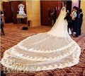 Fashion Trendy White Wedding veil 1 layer lace 6 meters long Bridal Veil wedding periphery flower veil free shipping