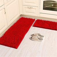 Soft Microfiber Anti Slip Floor Mat Shag Chenille Rug Bathroom Rug Set Washable Kitchen Rug Non