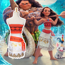 New 2017 Women Kids Movie Moana Princess Dress Cosplay Costume Skirt Halloween Carnaval Party