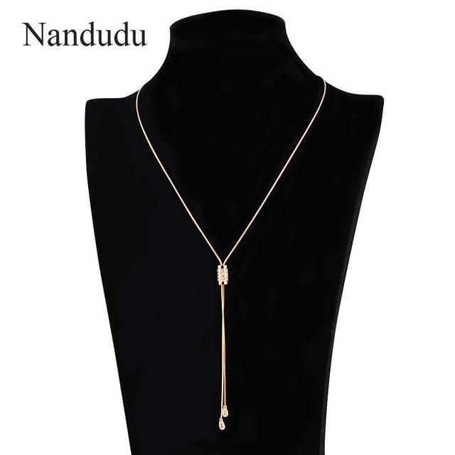 Nandudu Female Elegant Lariat Necklace Crystal Pendant Adjustable Size Long Sweater Chain Necklaces Gift N494