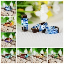 Creative Wood Resin Ring Women Handmade DIY Dried Flower Finger