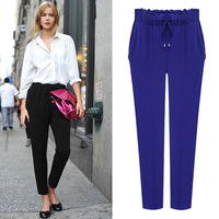 Korean Version Of The Fall New Nine Points Large Yards Haren Pants Loose Thin Small Feet