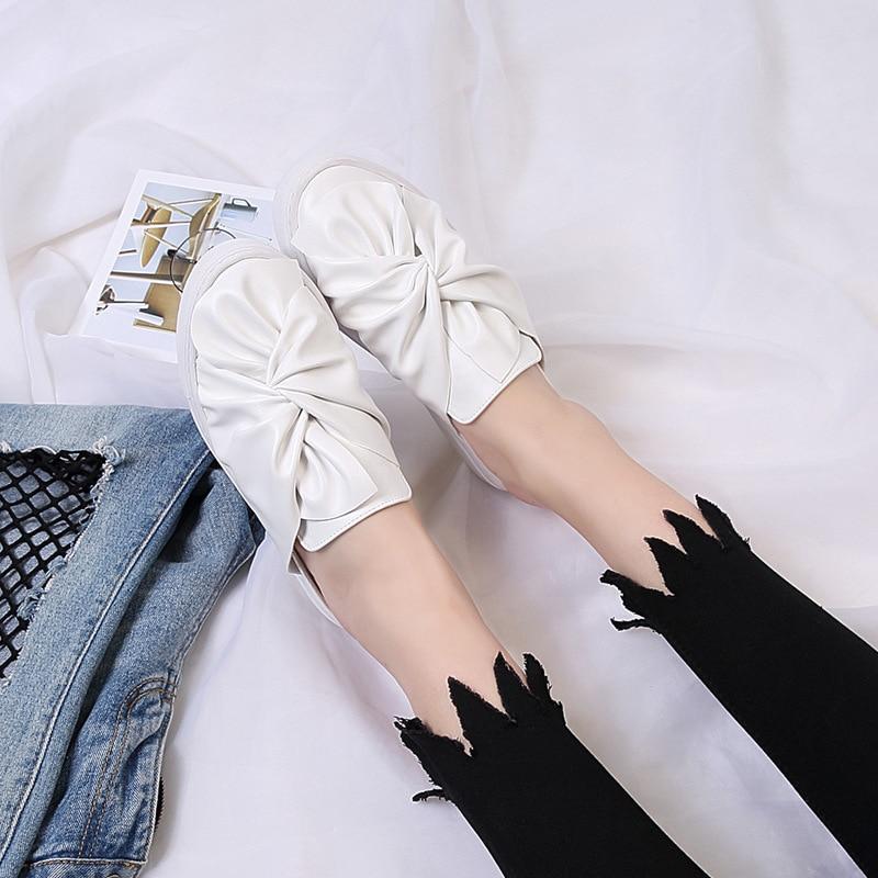 Sauvage Paresseux Pédale Coréenne Chaussures Papillon Blanc Occasionnels En Amour Drag Plat Blanc Épais Cuir half nzwSqAH