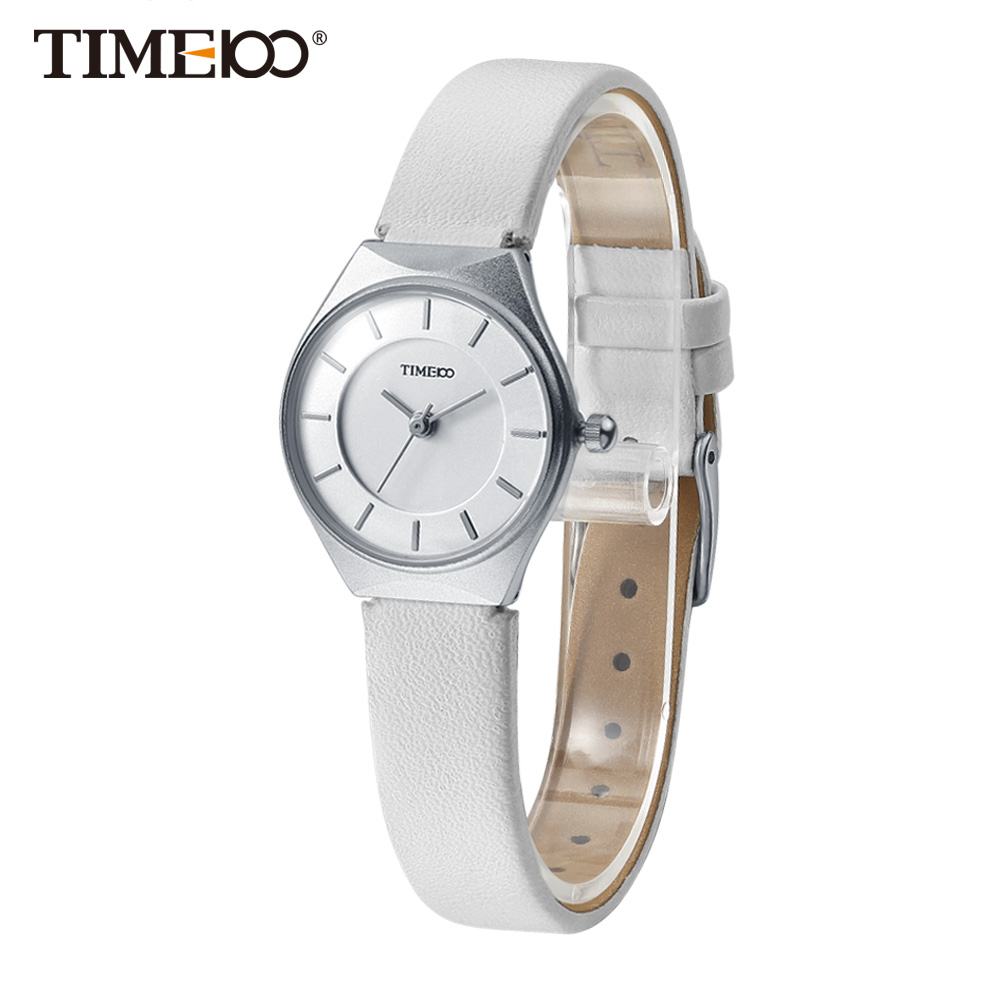 TIME100 Women watches Ultrathin Case Quartz Watch Analog Simple Business White Leather Strap Wrist Watches relogio feminino литой диск replica fr lx 98 8 5x20 5x150 d110 2 et54 gmf