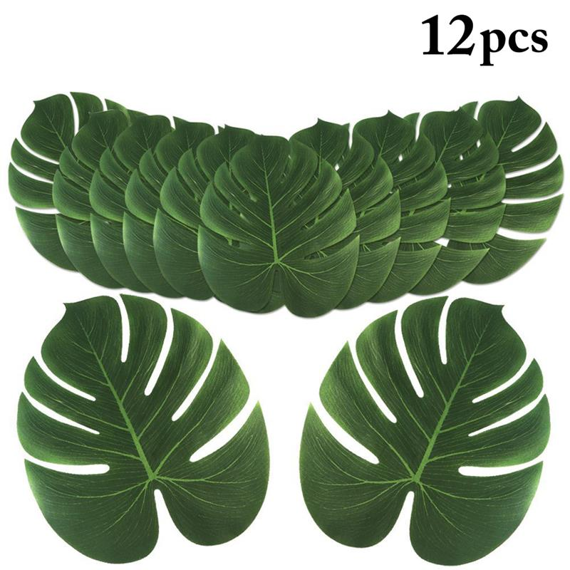 12pcs Artificial Plants Fake Monstera Palm Tree Leaves Green Plastic Leaf for Wedding DIY Table Decoration