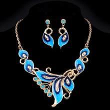 dc9023479ca0 Moda colorida BiB declaración collar con flor Pendientes de broche set  choker Maxi collar mujeres boda Juegos de joyería
