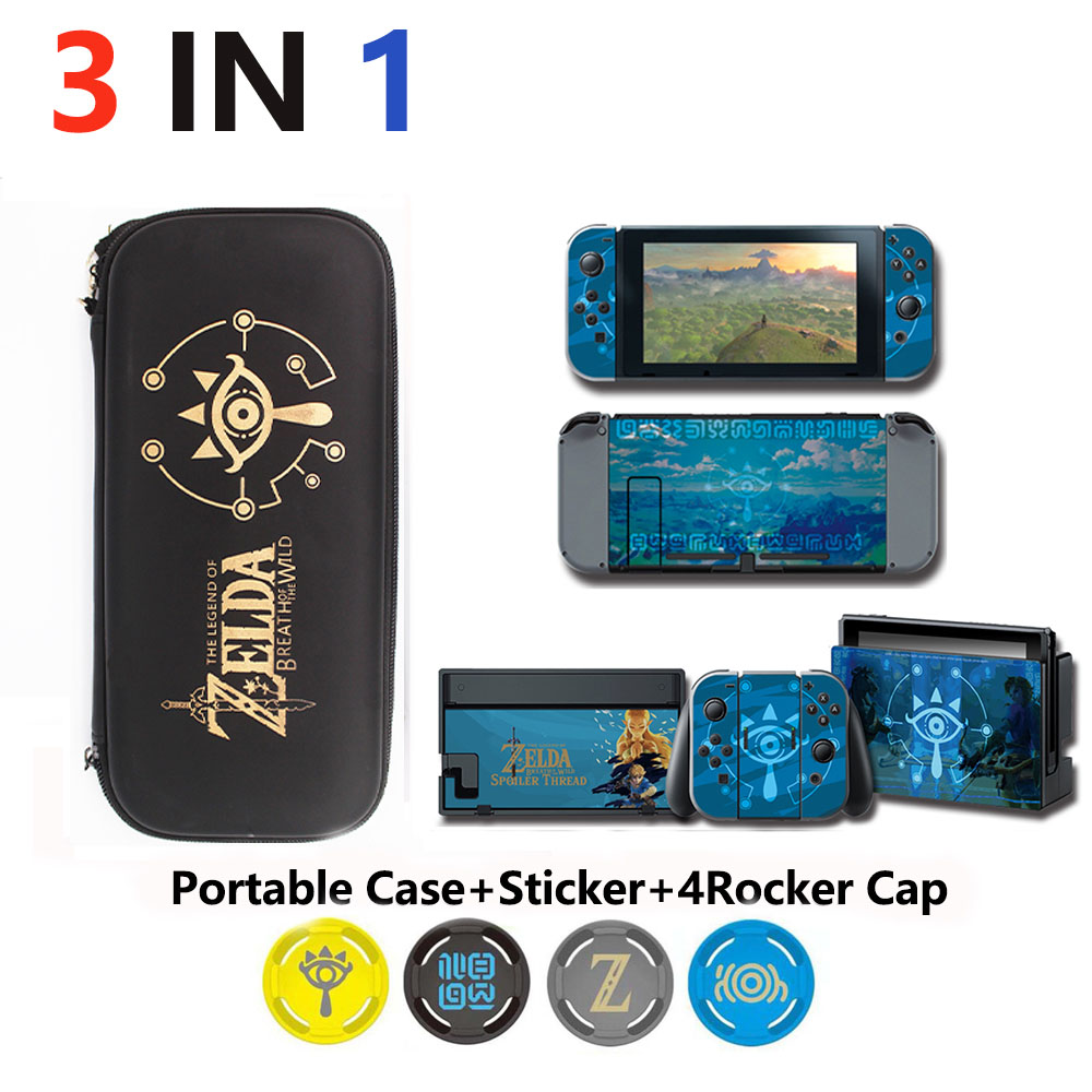 Купить с кэшбэком 4 in 1 Nintend Switch Accessories Travel Carrying Bag& Sticker for Nintendos Switch & Caps for NS theme game
