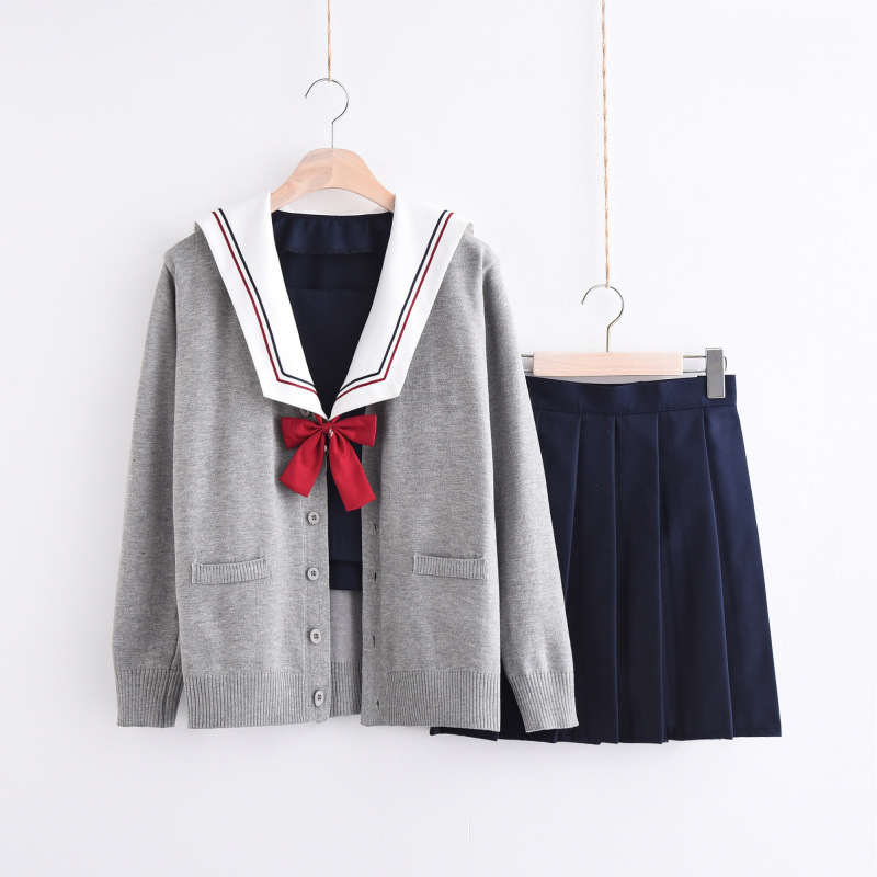 UPHYD S-XXL Winter School Uniform Chorus Navy Sailor Uniforms School Girl Anime Costumes Top Skirt And Cardigan Sets