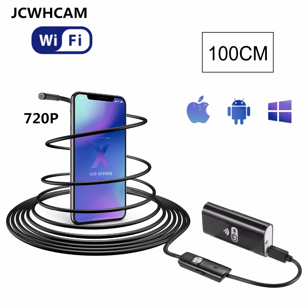 JCWHCAM Wifi Endoscope iOS Android 1M Soft cable 8mm HD 720P Borescope pipe mini IP Camera Snake Camera PCB Car Inspection gakaki hd 8mm lens 20m android phone camera wifi endoscope inspection camera snake usb pipe inspection borescope for iphone ios