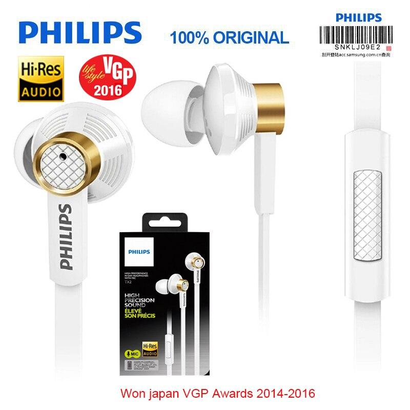Philips D'origine Tx2 Embauche écouteurs haute résolution HIFI fièvre écouteurs oreille bruit annulation écouteurs pour un mobile téléphone xiaomi