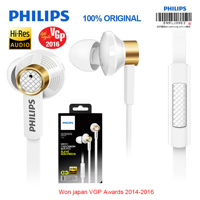 Philips Original Tx2 HiRes earphone high resolution HIFI fever earbuds ear noise canceling earphones for a mobile phone xiaomi original awei es q3 headset noise isolation bests sound in ear style hifi earphones for phone mp3 mp4 players 3 5mm jack