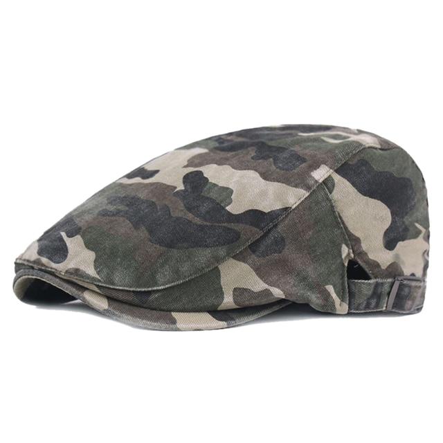 Men Camouflage Cap Summer Flat Cabbie Newsboy Cotton Gatsby Sun Hat Casual Camo Printed Caps Male Adjustable Beret Caps Gorras