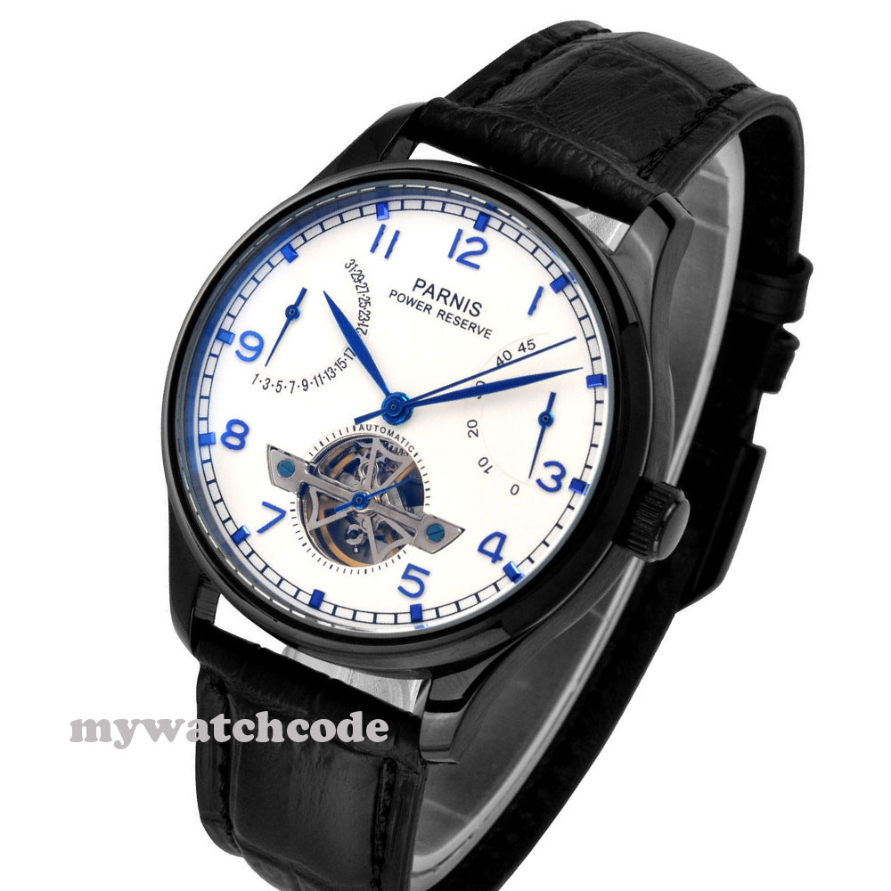 цены 43mm parnis black dial power reserve ST automatic mens wrist watch P263