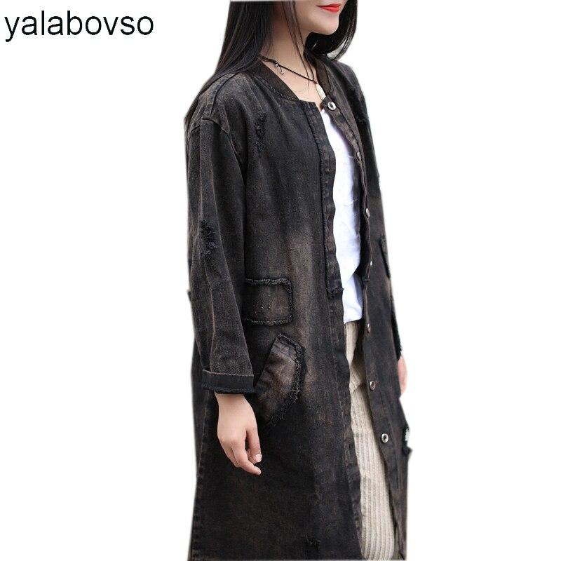 Демисезонный Ретро Винтаж отверстие вышивка свободные длинная куртка Женские лоскутные модные джинсовая куртка для женщин A0B-Z30