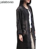 Spring Autumn Retro Vintage Hole Embroidery Loose Long Jacket Female Patchwork Fashion Denim Coat For Woman